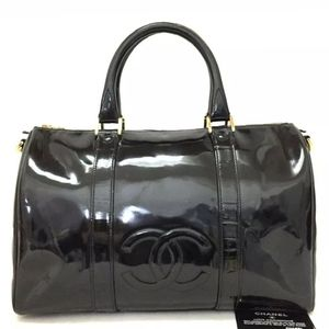 Chanel patent leather cc duffle Boston bag